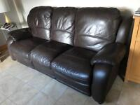 Real Leather Brown 3 Seater recliner - NEEDS GONE ASAP