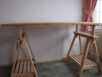 Two Ikea adjustable flat-pack workbenches for sale
