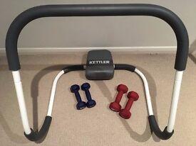 Kettler Ab Roller and 2 sets of Gold's Gym Dumbells