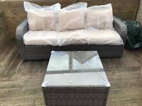 Outdoor rattan garden 3 seater brown sofa and table new - free delivery available