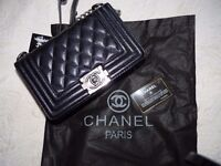 ladies chanel le boy leather small size with silver chain brand new bag