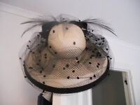 Classy Special Occasion Beige and Black hat - suitable for Ascot, Weddings, Investitures!