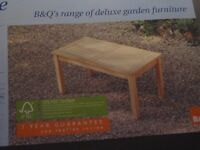 NEW still in box coffee table B & Q garden460 mm high 895mm 480 widee £10.00 buyer to collect