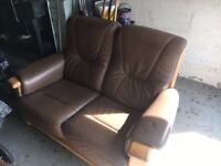 brown leather oak wood sofa very good condition!