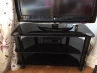 Corner TV Stand (glass, black)