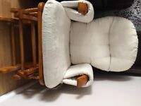 Wooden recliner/glider chair and stool