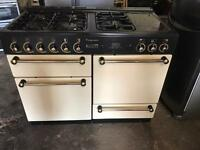 Rangemanster leisure dual fuel gas and electric cooker ceramic halogen cream 110cm