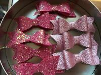 Glitter and faux leather hair bows