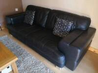 Black leather DFS sofa 3 seater