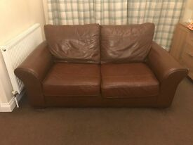 Brown leather sofa, sofa bed and storage footstool