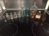 Bundle Of 9 small Antique bottles