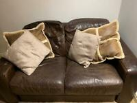 Brown leather sofa - collection only