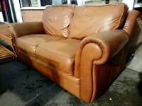 Brown leather 3 seater in good condition