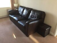 Barker and Stonehouse Natuzzi Brown Leather Three Seater Sofa and Chair