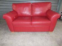 Genuine Natuzzi Italian Red Leather 2-seater Sofa (Suite)