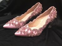 Pink shoes with Rhine Stones, brand new in box, never worn