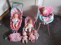 Pram, bouncy and feeding chair with dolls
