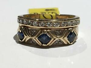 #1591 10-14K YELLOW GOLD DIAMOND BAND AND SAPPHIRE BAND FUSED TOGETHER *SIZE 5 1/4* APPRAISED FOR $2350 SELL FOR $795