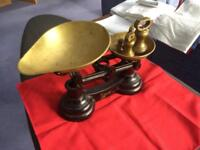 Brass weighing scales with imperial brass weights