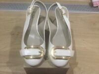 Cream Leather Cork Wedge Sandal (size 4) with buckle on front. Portfolio range Marks and Spencer