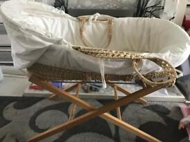 Cream Moses basket with stand FREE