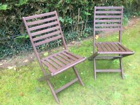 2 x Garden Chairs Patio Hardwood Chairs
