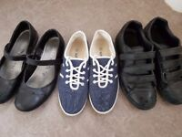3 Pairs Girls Shoes - Size 6 Adult
