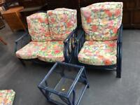 CONSERVATORY SUITE CANE SOFA CHAIR AND TABLE ( 2 AVAILABLE ) ** FREE DELIVERY AVAILABLE **