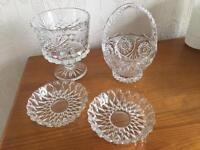 Various vintage dressing table / dining table glass ware