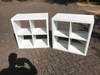 Ikea Kallax Shelving x2 (White, Cube, Bedroom, Storage)