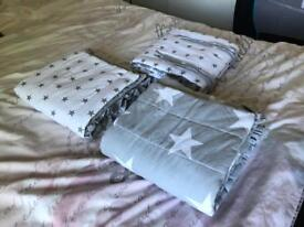 3x stars cot bed bumpers lovely
