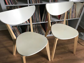 Pair of IKEA NORDMYRA chairs in white / birch