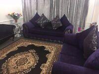 Beautiful designer 3 plus 2 sofa suit pruple include shiny grey crushed velvet curtains