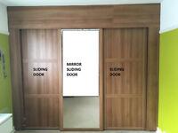 Sliding Wardrobe Doors x3 + Trackset x2 + Round steel tube x5 + Track-set bracket x6 + Plywood x2