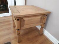 Corona Lamp/Side table - light waxed solid pine