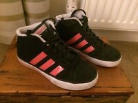 Girls Adidas Hi-Top trainers, black with 3 x pink stripes, size 1