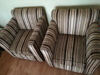 Pair of striped armchairs