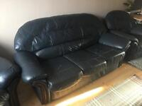 Blue three seater sofa two armchairs 1 foot rest must go ASAP