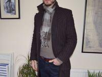 Men's Coat Esprit / EDC - Brown Patterned Wool, Single Vent, Size XL. Akin to Allsaints, Ted Baker