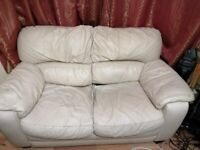 Free 2-seater Cream Leather Sofa (COLLECTION ONLY)