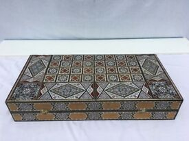 Collector's item: exquisite backgammon box and tiles, beautifully inlaid with mother-of-pearl