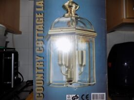 Solid Brass Country Cottage Ceiling Lamp on chain (New/Boxed)