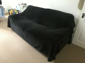3 or 4 Seater Sofa & Black Throw