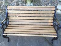 Refurbished Victorian Style Lion Head Cast Iron & Oak Garden Bench