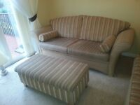 3 seater, 2 seater sofa and large footstool for sale