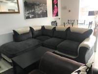 White Leather and Grey Fabric Corner Sofa