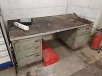 METAL WORKBENCH WITH DRAWERS, IDEAL FOR GARAGES AND WORKSHOPS ETC