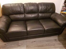 Portland leather 3 seater sofa
