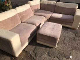 Nice corner sofa and footstool. Delivery