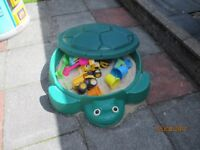 Little Tikes turtle sand pit complete with sand and accessories